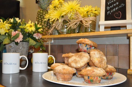 Muffins and coffee for guests