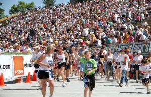 Bolder Boulder competitors enter Folsom Stadium